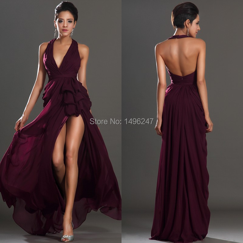 Top Fashion Sexy Long Prom Dresses Halter Backless Front