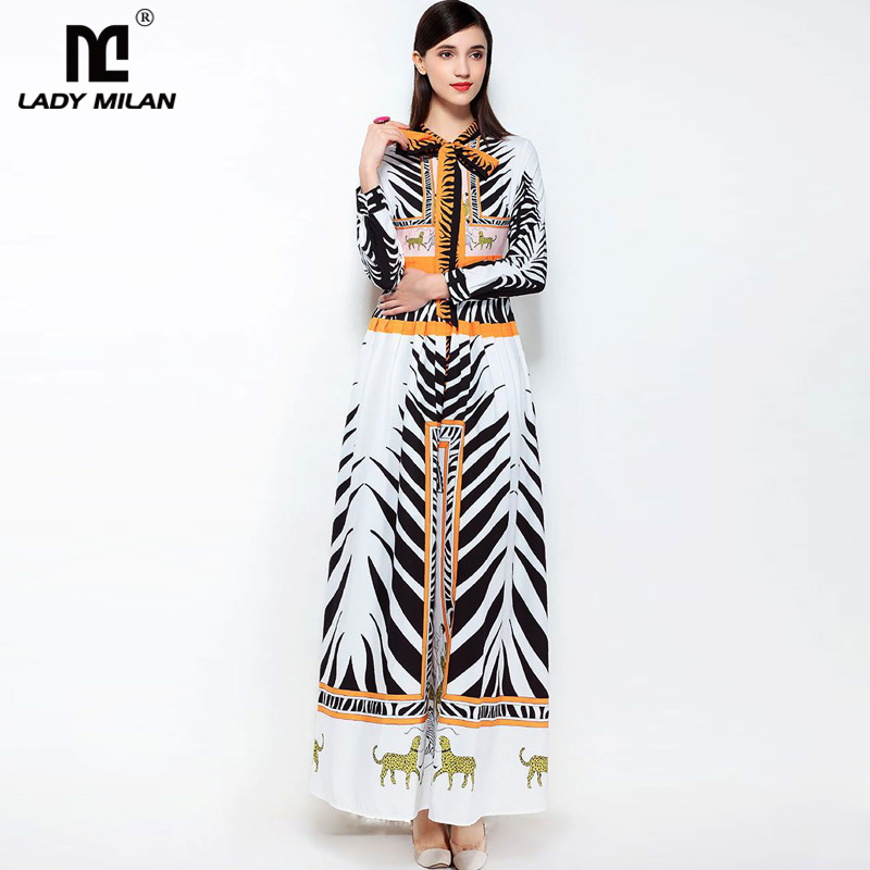 New Arrival 2018 Womens O Neck Long Sleeves Bow Detailing Zebras Printed Ruched Waist Fashion Maxi Runway Dresses