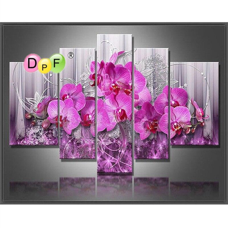 5 set ricamo diamante diy Rosa peach blossom pittura di strass per modern home autoadesivo Del Fiore della decorazione