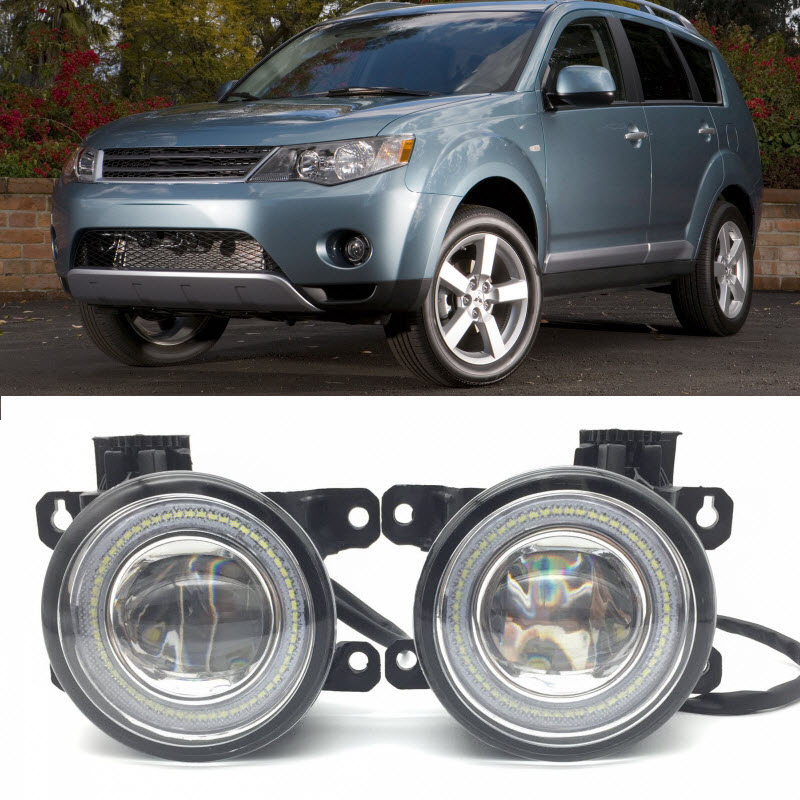 For Mitsubishi Outlander XL / Outlander 2 in 1 LED Angel Eyes DRL 3 Colors Daytime Running Lights Cut-Line Lens Fog Lights intro ahr 6184 для mitsubishi outlander xl