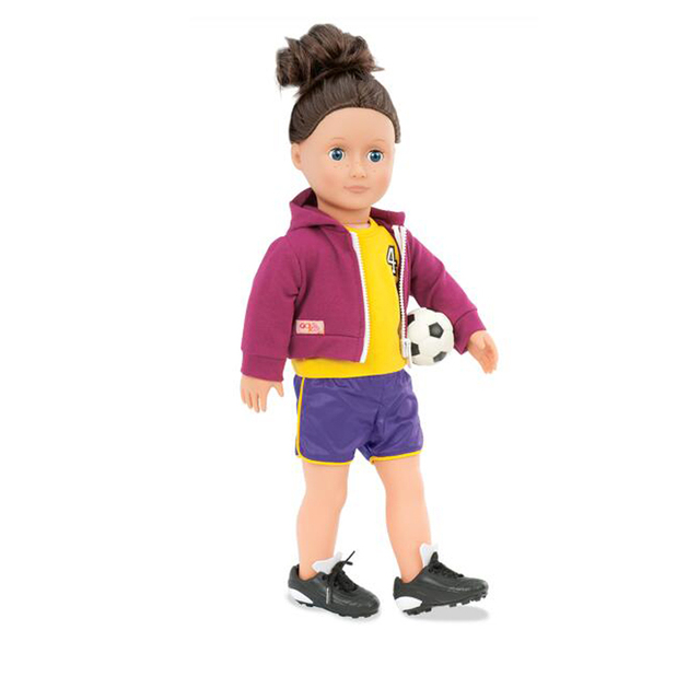 1 Set American Girl Doll Clothes and Soccer=1 Jersey+1 pair of shorts+1 sweater+1 blue soccer ball for 18 inch Dolls