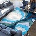 Морской синий fiord утолщенный ткацкий коврик для дома  большой размер художественный ковер для офисной комнаты  синий коврик для прикроватно...