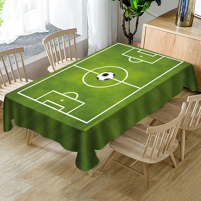 Fun World Cup Green Football Stadium Print Polyester Table Cloth Country  Style Solid Multifunctional Rectangle Table