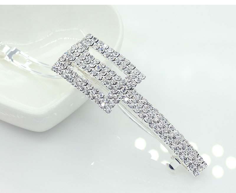New Rectangle Fashion Full Shiny Crystal Metallic Golden & Silver Hair Clips Barrettes Fashion Hair Jewelry for Women