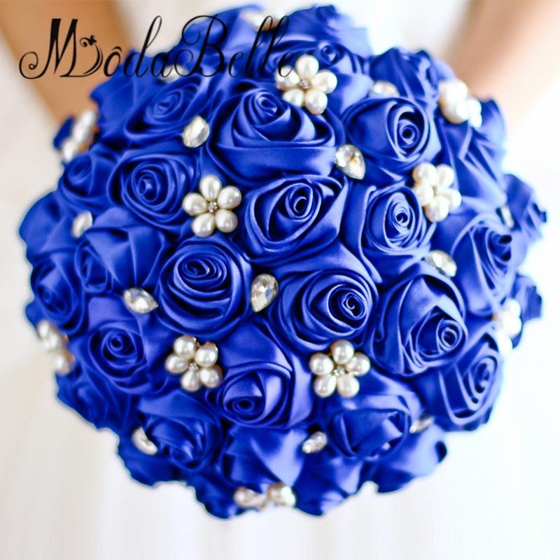 Purple Wedding Bride Bouquet Pearls Royal Blue Satin Bouquet ...