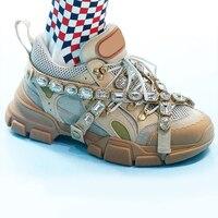 Металлической цепочкой женские кроссовки с низким верхом Женская обувь кожаная женская обувь на плоской подошве красочные кристалл украше
