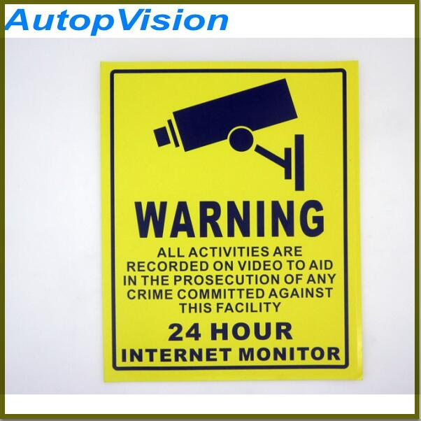 10pcs/lot 200*250mm Yellow And Black Decal Sticker Warning Board 24hr Cctv Surveillance Security Camera Signs