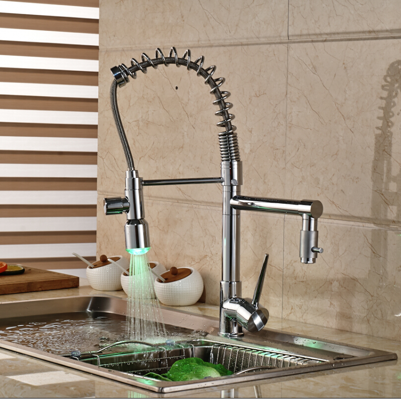 Kitchen Pull Down Spray Dual Spouts Chrome Single Handle Sink Faucet Hot&Cold Mixer Tap LED Light kitchen chrome plated brass faucet single handle pull out pull down sink mixer hot and cold tap modern design