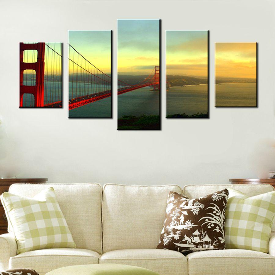 Kumsal duvar boyas rengi ile modern ve k ev dekorasyonu - Moda Eve Ta Nma Hediye Golden Gate K Pr S Alacakaranl Kta B Y K Resim Hd Bask Duvar Sanat Boyama Tuval