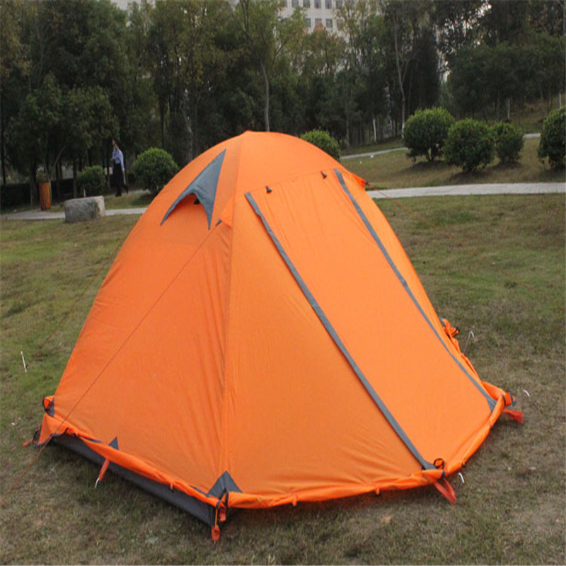 Hot Sale Outdoor Camping Double Layer 2 person Aluminum Rod Tent Waterproof Windproof High Strength Camping Tent hewolf high quality 2 person double layer camping equipment round aluminum rod rainproof outdoor tent