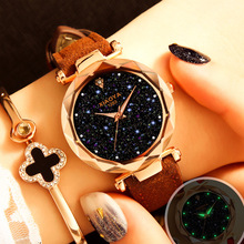 Luxury Brand Quartz Watch Women Starry Sky Watch Leather Fashion Casual Rhinestone Ladies Watch Relogio Feminino Clock Female недорого