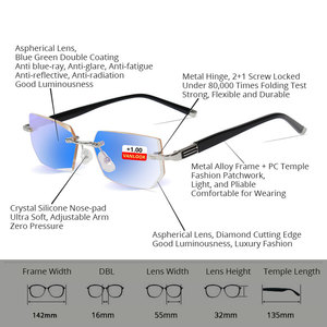 Image 5 - Vanlook 시력 투시를위한 diop터가있는 학위 반사 방지 안경 안경의 무테 안경 + 1 1.5 2 2.5 3 3.5 4