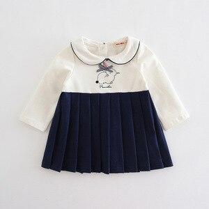 Image 3 - 赤ちゃんの女の子は秋プレッピースタイルのウサギのパターン幼児ドレス子供プリーツクリスマスドレスのための服 0  2 t