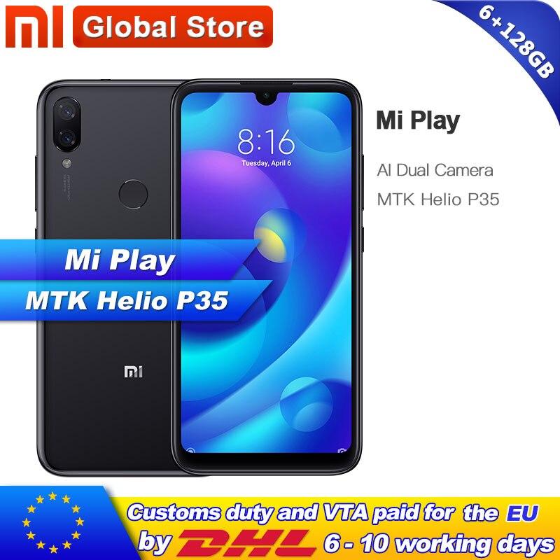 Xiaomi Mi Play 128GB ROM 6GB RAM Mobile Phone Octa Core MTK Helio P35 Telephone Dual