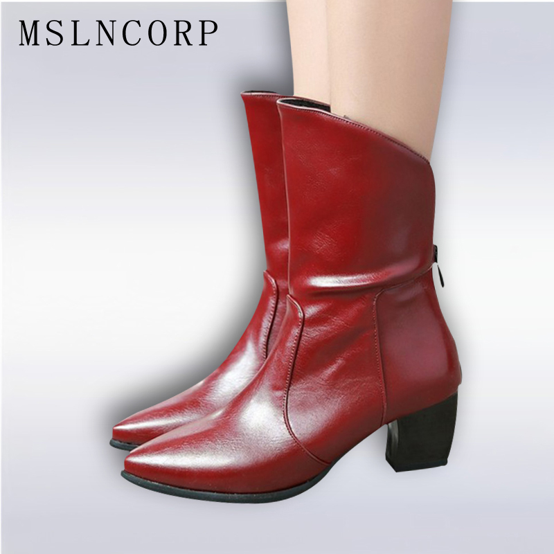 купить Size 34-43 Spring Autumn Women Ankle Boots Zip Pointed Toe Leather Boots Square High heeled Fashion Winter Warm Snow Boots Shoes недорого