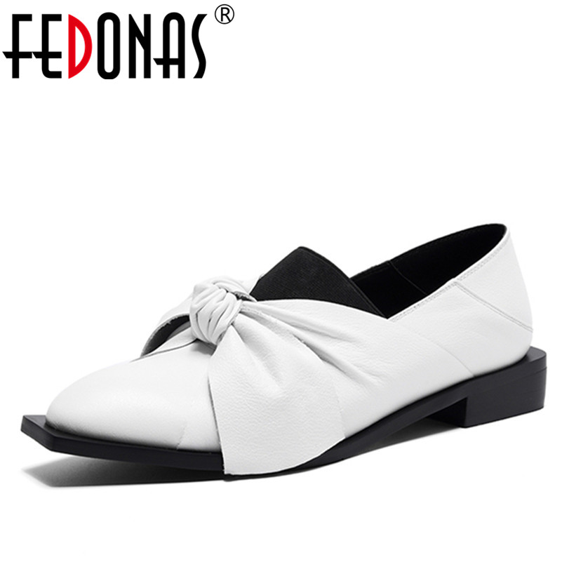 FEDONAS New Classic Shoes Woman Pumps Genuine Leather Square Heel Black White New Autumn Shoes Bowtie
