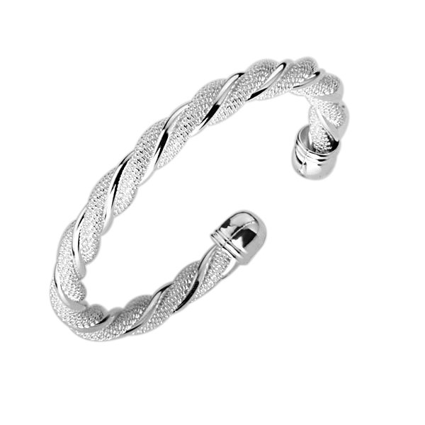 Free Shipping B020 Fashion Silver Plated Bangle Plain Twisted Bracelet Retro Cute Gift Curly Present In Bangles From Jewelry Accessories On