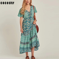 Bohemia Ethnic Orange Yellow Floral Print Deep V Neck Waist Tied Bow Short Sleeve Holiday Floor Lenght Swing A Line Dress