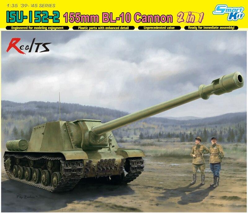 RealTS Dragon model 6796 1/35 ISU-152-2 155mm BL-10 Cannon 2in1 plastic model kit forex b016 6796