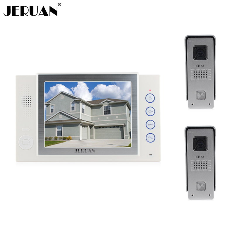 JERUAN New 8 inch video door phone doorbell intercom system video doorphone recording photo taking 2 camera 1 monitor jeruan home security system 2 outdoor 1 indoor with recording photo taking 8 inch video door phone doorbell intercom system