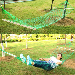 Image 5 - The Mesh Camping Hammock with Wooden Bar 80cm Single person Nylon Rope Hanging Chair with Tree Rope Summer Swing Bed