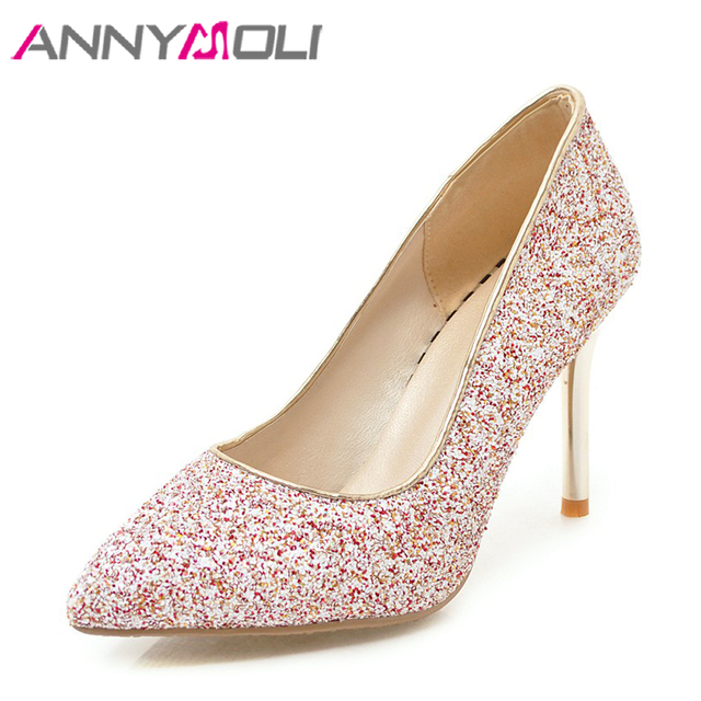 ANNYMOLI Women Pumps High Heels Ladies Party Shoes Bling Glitter Pointed Toe  Thin Heel Gold Wedding Shoes Bridal Big Size 33-43 73d949033f20