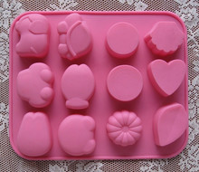 Valentines day special! Handmade Soap silica gel mold handmade soap material 12 hole animal
