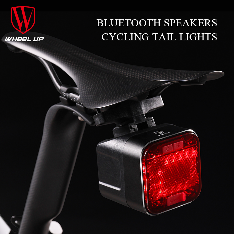 Feu de bicyclette Rechargeable USB feu arrière Bluetooth haut-parleur lampe de poche pour vélo LED rétro-éclairage de vélo
