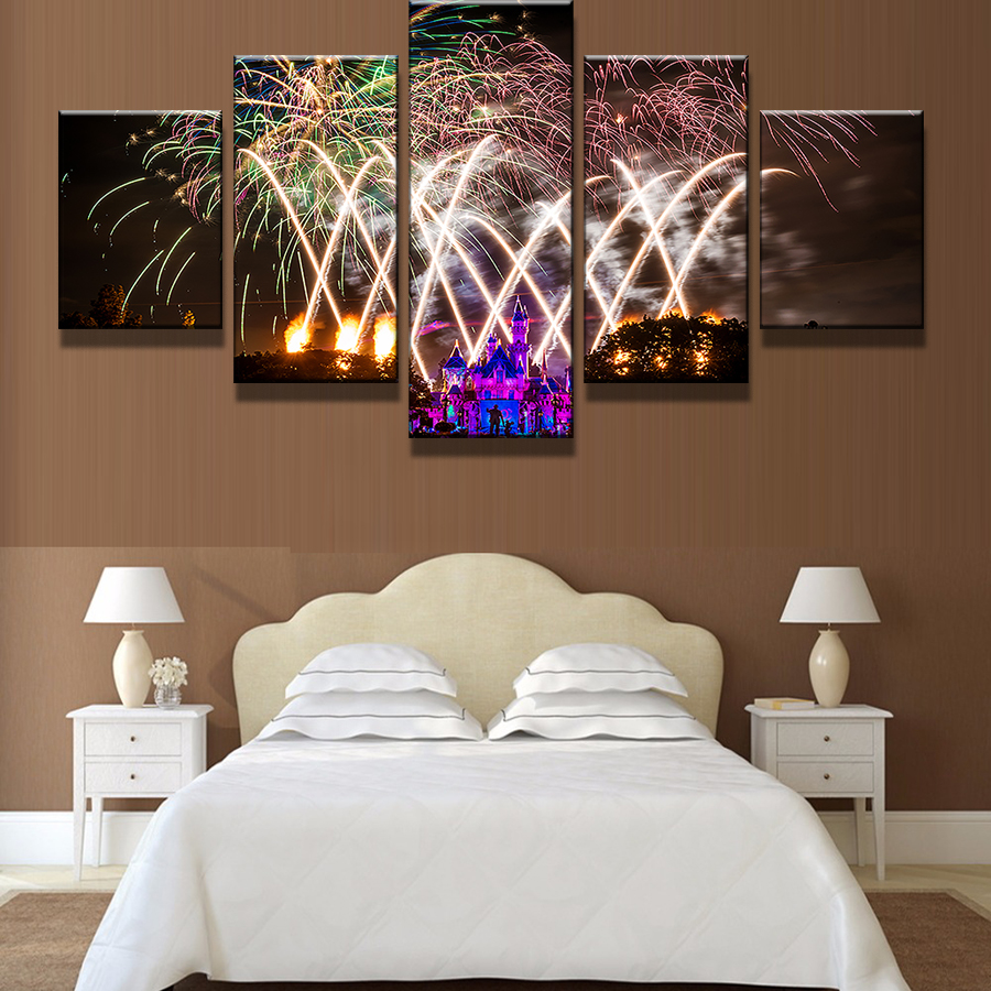 online shop 5 panel gorgeous bright fireworks purple castle home