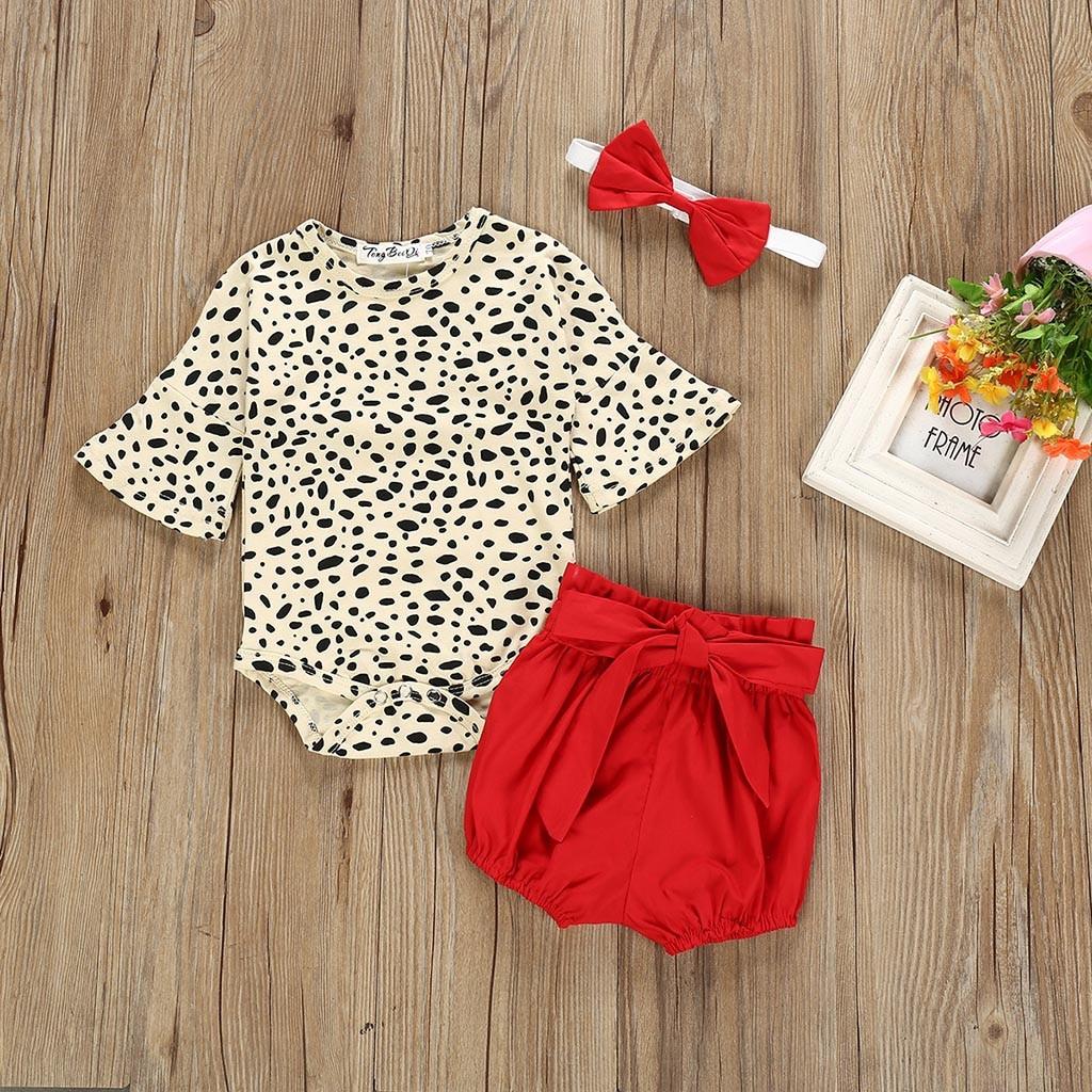 MUQGEW Baby Girl Clothes Newborn Kids Baby Girls Clothes Leopard Print Romper Bodysuit+Shorts Set Dropshipping Roupa Infantil