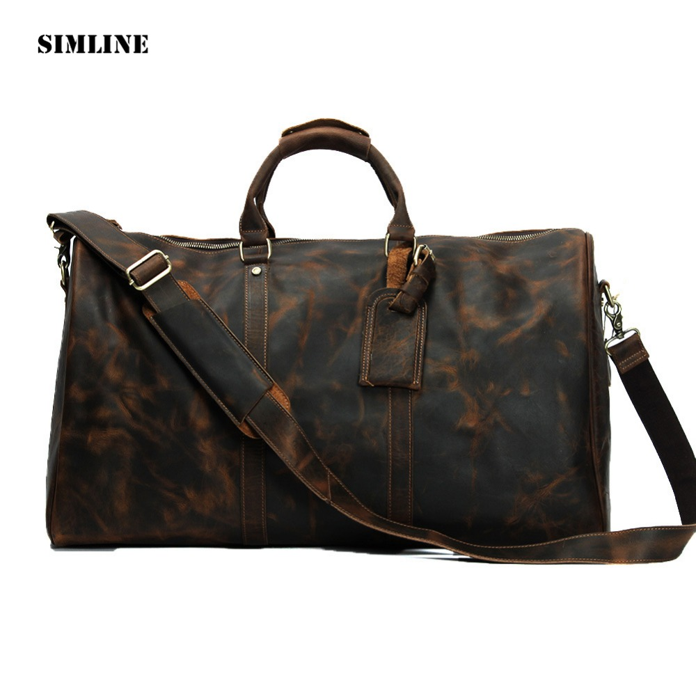 Vintage 100% Genuine Crazy Horse Cowhide Leather Large Capacity Men Male Travel Duffle Handbag Shoulder Luggage Bag Bags For Man 2013 male commercial travel bag genuine leather men luggage travel bags shoulder large capacity cowhide business bag items tb17