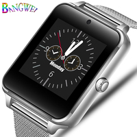 BANGWEI New Smart Men Watch Bluetooth Phone Camera Stainless steel strap sport Pedometer Heart Rate Sphygmomanometer Smartwatch