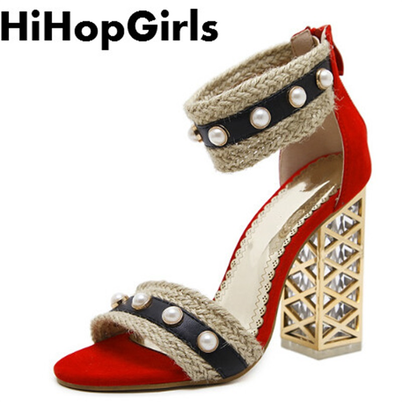 HiHopGirls 2018 new Summer fashion Roman Suede pearl zipper Women Pumps Shoes Sexy High heels Solid color party Woman Sandals цена