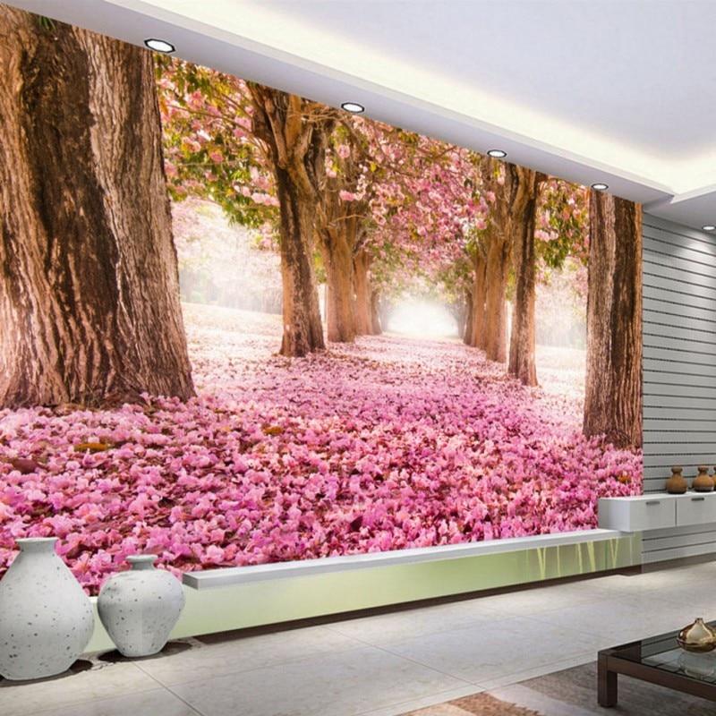 Custom 3d mural Trees Pink Petals Background Mural Restaurant Living ...