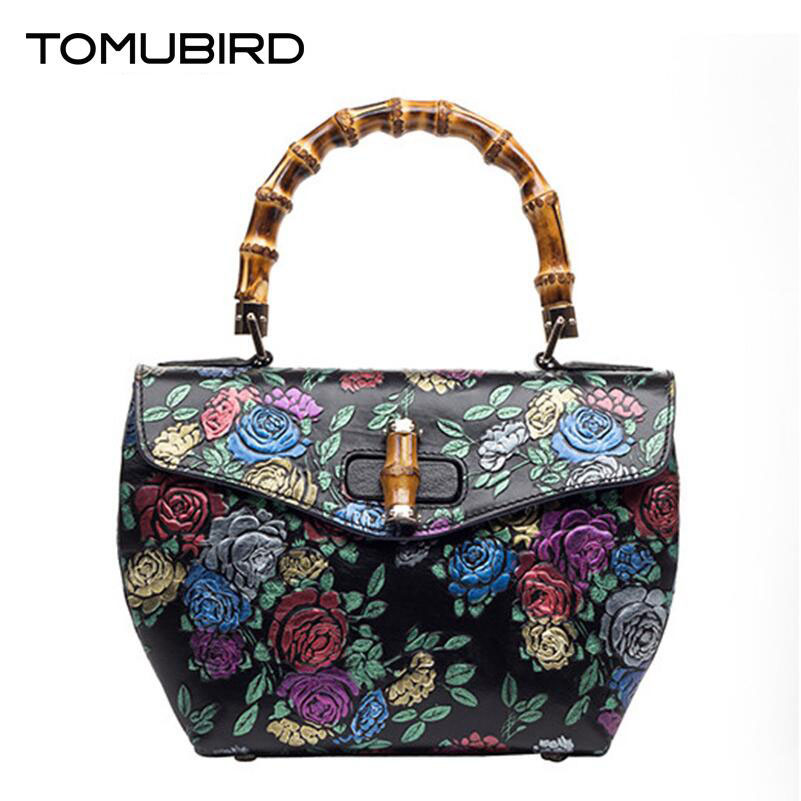 TOMUBIRD 2017 New women genuine leather bag fashion embossed Flowers women real leather handbags shoulder bag Brand luxury tote 2017 new arrival designer women leather handbags vintage saddle bag real genuine leather bag for women brand tote bag with rivet