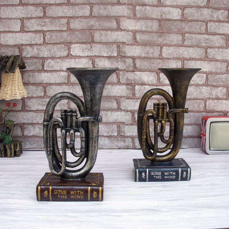 Modelo de saxofón musical Vintage artesanía de resina de escritorio - Decoración del hogar - foto 3