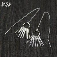 JINSE Fashion Unique Design Punk Rock S925 Pure Silver Long Chain Tassel Pendant Exaggerated Statement Dangle