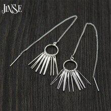 JINSE Fashion Unique Design Punk Rock S925 Pure Silver Long Chain Tassel Pendant Exaggerated Statement Dangle Earrings for Women