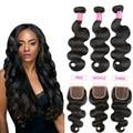 ALIBALLAD hair Grade peruvian body wave Virgin Hair With Closure Cheap Peruvian Human Hair Weave 3/4 Bundles peruvian body wave