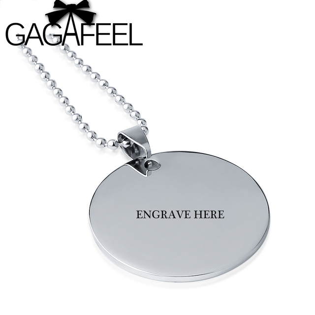 Gagafeel personalized engraved name laser engraving stainless steel gagafeel personalized engraved name laser engraving stainless steel round pendant necklace diy logo letter for woman aloadofball Gallery
