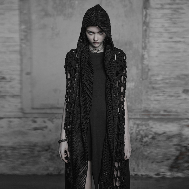 PUNK RAVE Women Dark Gothic Female Scarf Wool Fabric Lace Decoration Hoodied Mesh Party Streetwear Personality