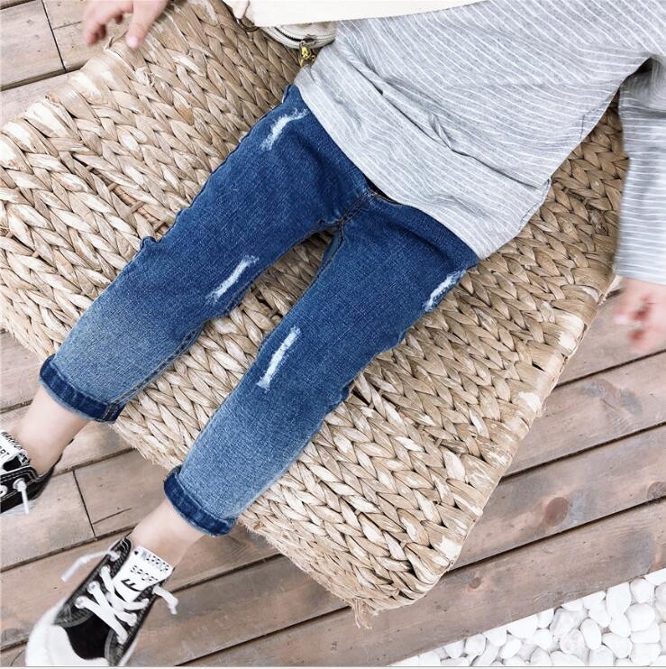 Nett 2019 Neue Großhandel Mädchen Jungen Denim Hosen Löcher Frühling Mode Mädchen Jean Hosen 1-6 T Hi62 Jeans Mädchen Kleidung