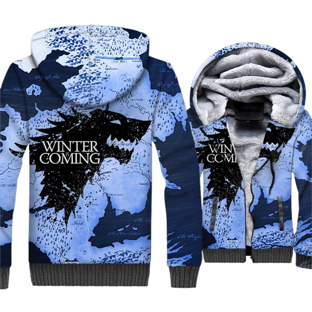 Game Of Thrones Hoodies Winter Ist Kommende Haus Stark Wolf Druck 3D Jacken Männer 2018 Winter Warme Sweatshirts Hip Hop streetwear