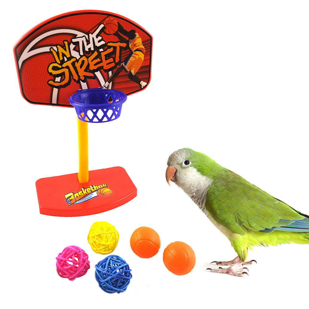 Non toxic Pet Birds Chew Toy Parakeet Bell Balls Parrot Toys Birdie Basketball Hoop Prop for Parakeet Budgie Cockatiel Cage toy