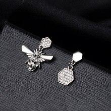 925 silver earrings, Bee-shaped geometric zircon earrings Jewelry & Accessories, Fashion Jewelry, Stud Earrings spe javier gold silver adorable bumble bee insect shaped stud earrings animal jewelry for women girl gift stud earrings