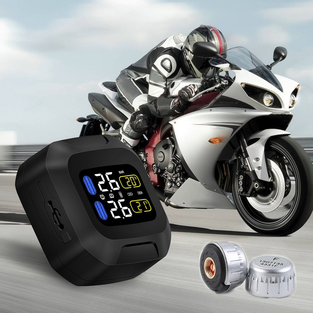 M3 CAREUD Waterproof TPMS Motorcycle Tire Pressure Monitoring System Wireless LCD Display with 2 External Sensor for Auto Cars cut25 by yigal azrouël футболка