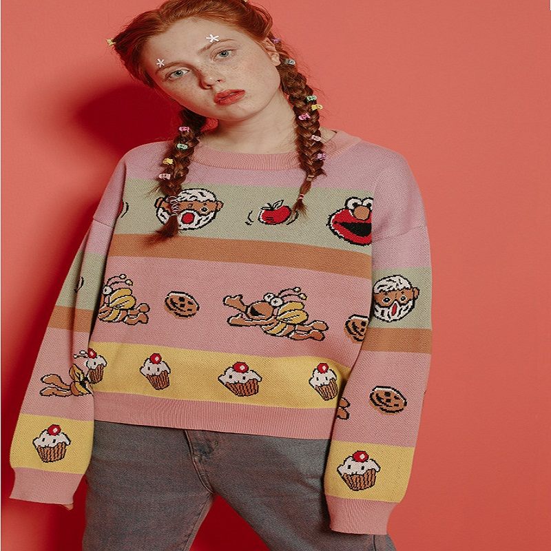 Automne Tricoté Tricots Jacquard Pull Design Chandail Hiver Femelle Chandails Épais Coton Femmes Tops Chaud Harajuku RUYFwHq8n