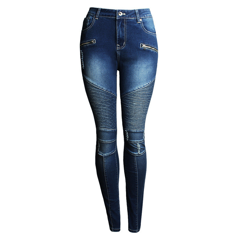 MORUANCLE Fashion Mens Ripped Pencil Biker Jeans Pants Slim Fit Stretch Pleated Motorcycle Denim Trousers For Female Size S-3XL