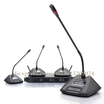 Professional 4 Channel Wireless Conference Microphone Capacitance Gooseneck Anti-noise Microphone Conference System
