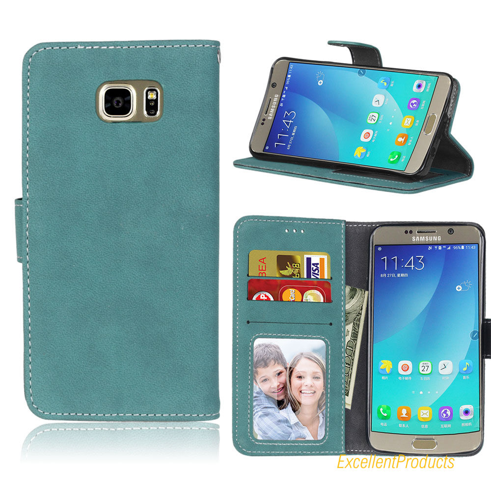 Flip Leather Covers Case For Samsung Note 5 Retro Scrub Cellphone Housing Wallet Card Slot Holster